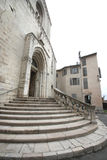 The stairs of  the medioeval cathedral of Grasse Stock Photos