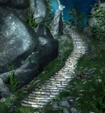 Stairs in the middle of a forest taking to and old portal. Fantasy stairs beside a rock leading to a mysterious place - 3d illustration vector illustration