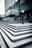 Stairs and modern architecture at Hopkins Plaza in Baltimore, Ma Royalty Free Stock Photography