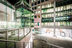 Stairs and modern architecture at night at David Pecaut Square, Royalty Free Stock Image