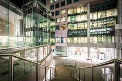 Stairs and modern architecture at night at David Pecaut Square, Royalty Free Stock Photography