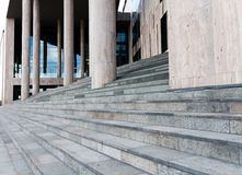 Stairs of a modern building. With columns royalty free stock image