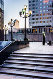 Stairs and modern buildings at Hopkins Place in downtown Baltimo Stock Image