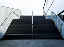 Stairs by Modern Glass Building Royalty Free Stock Images
