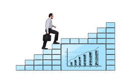 Stairs of monitors with chart Stock Images