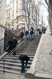 Stairs in Montmartre quarter Stock Photos