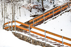 Stairs in the mountain snow Stock Images