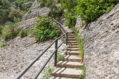 Stairs in the mountains near Montserrat, Spain Royalty Free Stock Photography