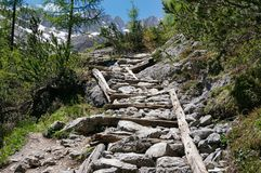 Stairs in the mountains royalty free stock photo
