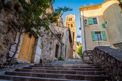 Stairs in Moustiers Sainte Marie. Stairs in the lovely village of Moustiers Sainte Marie in France Stock Image