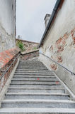 Stairs near downtown of the city. The connection between up city and down city Royalty Free Stock Images