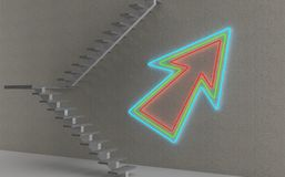 Stairs and neon arrow Stock Photos