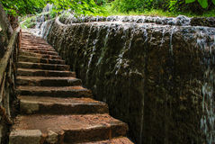 Stairs next to water. Stairs of the river Piedra route Royalty Free Stock Photo