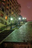 Stairs at night, in the Sacre-Coeur region, Paris, France. Stock Photos