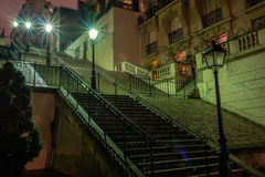 Stairs at night, in the Sacre-Coeur region, Paris, France. Stock Image