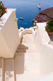 The stairs in Oia town on the island of Santorini, Greece. Stock Photos