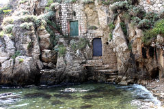Stairs. On an old stone house by the sea Royalty Free Stock Photography