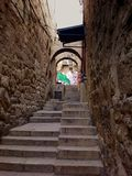 Stairs in old town, Jerusalem, Israel. Graffiti in arabic quarter in Jerusalem Royalty Free Stock Images