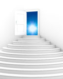 Stairs with opened door Stock Photography