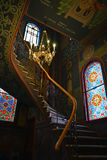 Stairs. Orthodox church of the Holy Ascension in Greece, in Catherine, Olympic region -contoured walls, windows and beautiful frescoes Royalty Free Stock Images