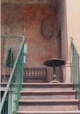 Stairs. Outside sitting area at the top of the stairs in old Savannah, GA Stock Images