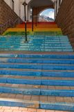 Stairs painted in rainbow colors royalty free stock photos