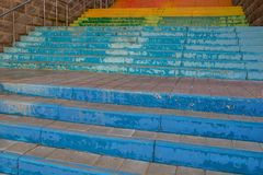 Stairs painted in rainbow colors royalty free stock photography