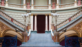 Stairs in a palace. Stairs inside a palace built by a French architect. It looks like the stairs from fairy tale's castle Royalty Free Stock Image