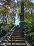 Stairs in Parc de Bercy, Paris, France, on a summer day. Stairs with railing in the Parc de Bercy, Paris, France, on a sunny summer day Royalty Free Stock Photo
