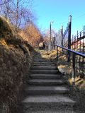 Stairs in the Park leading to the top. On sunny days. Stairs behind the garden, steps royalty free stock photography