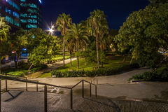 Stairs and park in the night and vegetation Stock Photos