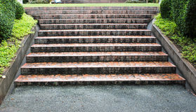 Stairs in the park. The stairs in the park. Which is full of moisture from the atmosphere, the rain just stopped falling Royalty Free Stock Images