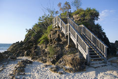 Stairs Pass Cape Byron Bay. Stairs on the headland in the afternoon light at the pass on Cape Byron, Byron Bay, easternmost point of Australia Royalty Free Stock Photos