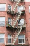 Stairs and Patios on Apartment  Building. External staircase and patios on an old apartment building Stock Photo