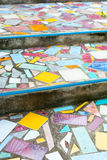 Stairs paved with broken tiles Stock Photo