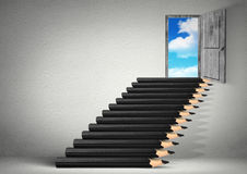 Stairs from pencils to sky, stairs from pencils, opportunity cre Stock Images