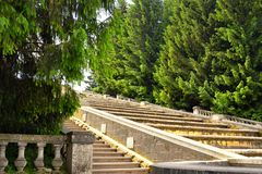 Stairs in the Petergof Park, St. Petersburg, Russia Stock Photo