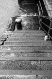 Stairs of the pier in black and white Royalty Free Stock Photography