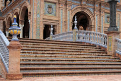 Stairs of the Plaza de Espana, in Seville Royalty Free Stock Image