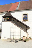 Stairs and plow on castle in Jindrichuv Hradec Royalty Free Stock Images