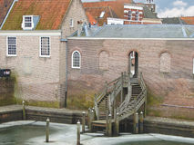 Stairs in the port city Heusden. Royalty Free Stock Image