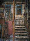 Stairs of poverty. Stairway of decaying apartment stock photo