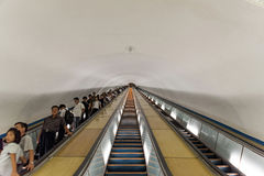 Stairs in Pyongyang Metro, North Korea. The Pyongyang Metro is the metro system in the North Korean capital Pyongyang. It consists of two lines: the Chollima Royalty Free Stock Photography
