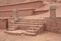 Stairs of Pyramid Akapana at ancient Tiwanaku Ruins, Bolivia Stock Image