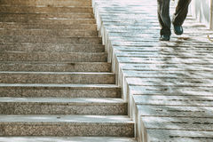 Stairs and ramp for both people and wheelchair. Stock Photo