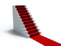 Stairs and red carpet. On white Royalty Free Stock Image