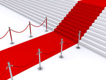 Stairs and red carpet. Red carpet leading up the stairs (3d render&#x29 Stock Image