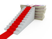 Stairs with Red Carpet and 500 Euro Money. Stairs with red carpet and five hundred euros money heap, isolated on white background Stock Photography