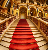 Stairs with red carpet Royalty Free Stock Images