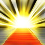 Stairs with red carpet and with lights Stock Image